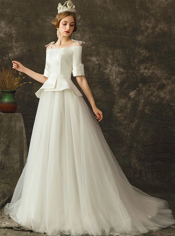 Straps Short Sleeve Tulle Satin Wedding Dress