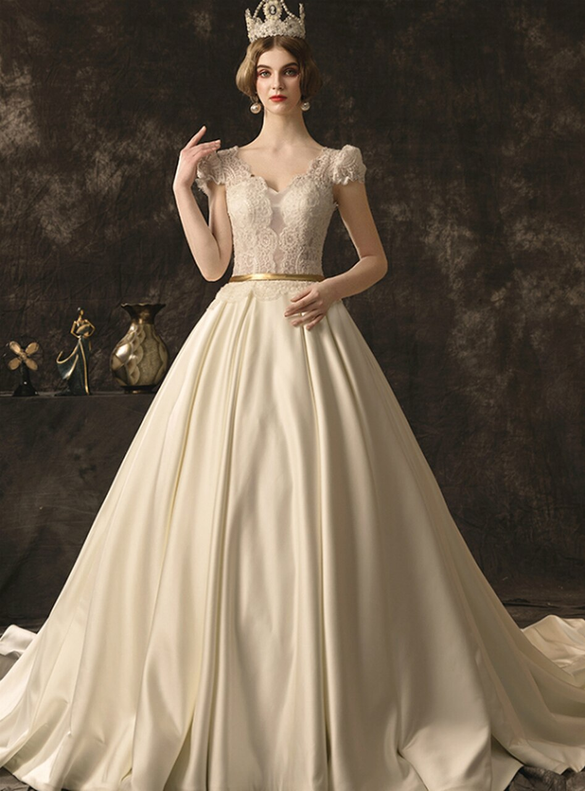 Ivory Ball Gown Satin Lace Cap Sleeve Wedding Dress