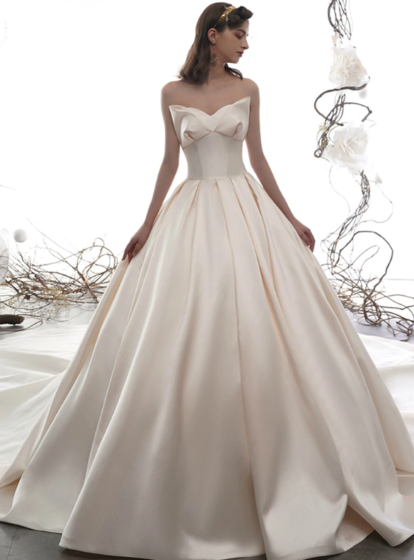 Modest Ivory Satin Strapless Wedding Dress
