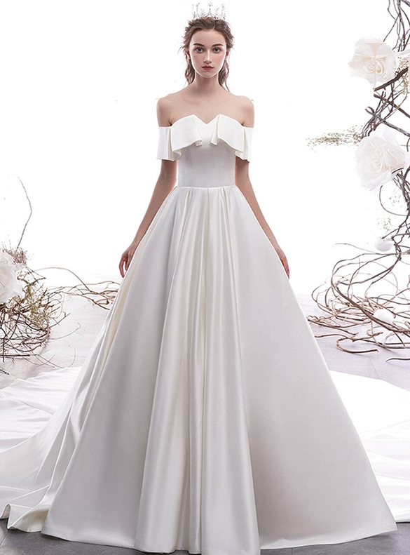 White Satin Off the Shoulder Wedding Dress