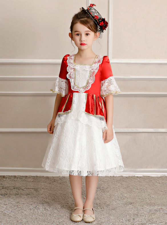 Red Satin White Lace Short Sleeve Victorian Dress