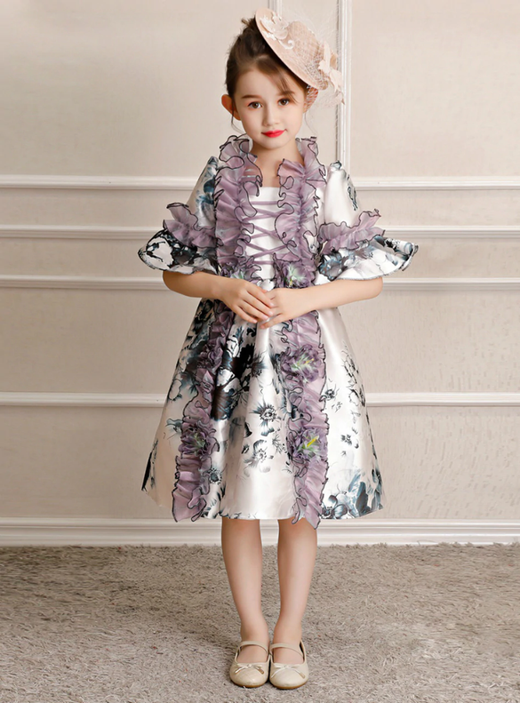 Purple Satin Print Short Sleeve Antonietta Baroque Dress