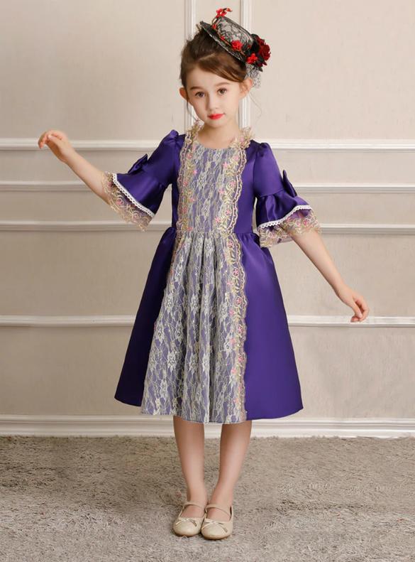 Purple Satin Lace Short Sleeve Rococo Baroque Dress