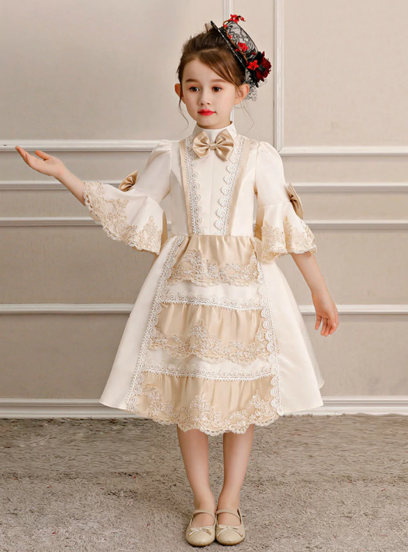 Champagne Satin Lace Short Sleeve Rococo Baroque Dress