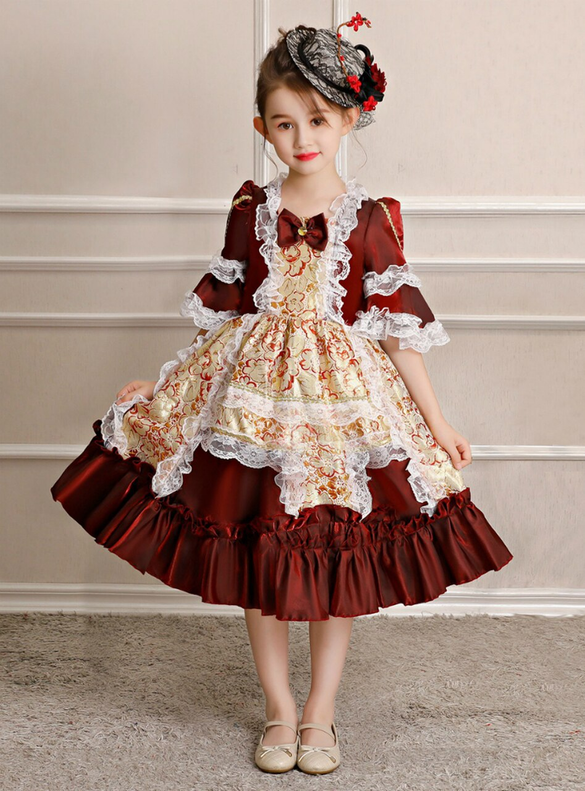 Burgundy Short Sleeve Baroque Masquerade Dress