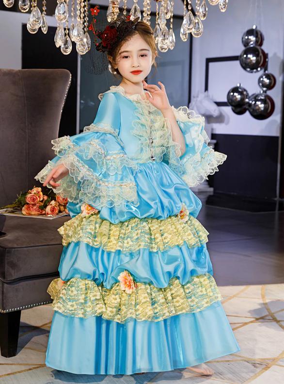 Blue Satin Lace Long Sleeve Baroque Antonietta Dress