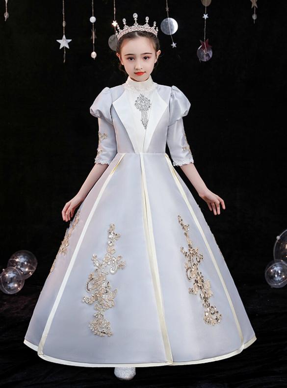 Silver Gray Satin Short Sleeve Appliques Baroque Victorian Dress