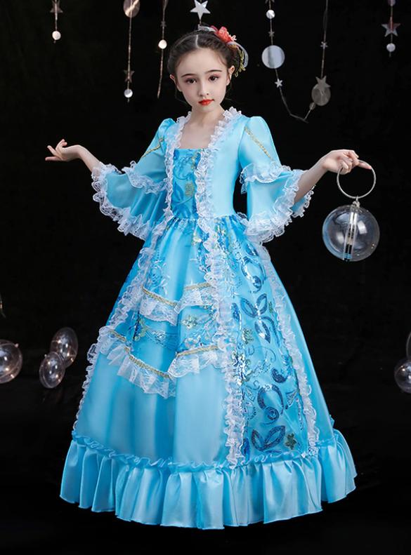 Blue Satin Sequins Short Sleeve Rococo Baroque Dress