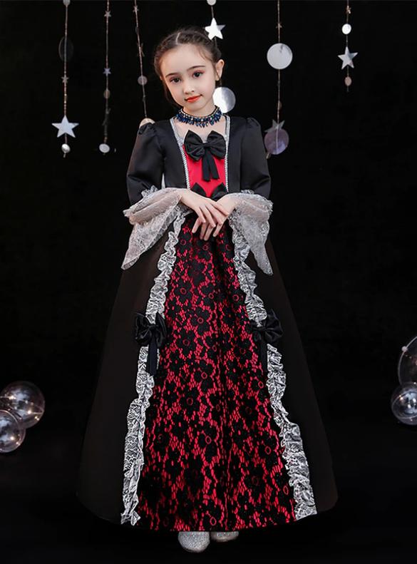 Black Satin Lace Long Sleeve Baroque Girls Dress