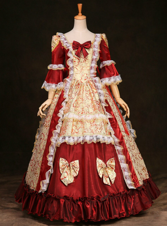 Burgundy Satin Short Sleeve Baroque Victorian Masquerade Dress