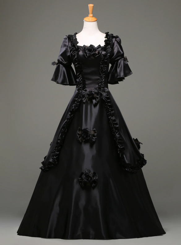 Black Satin Short Sleeve Square Rococo Baroque Dress
