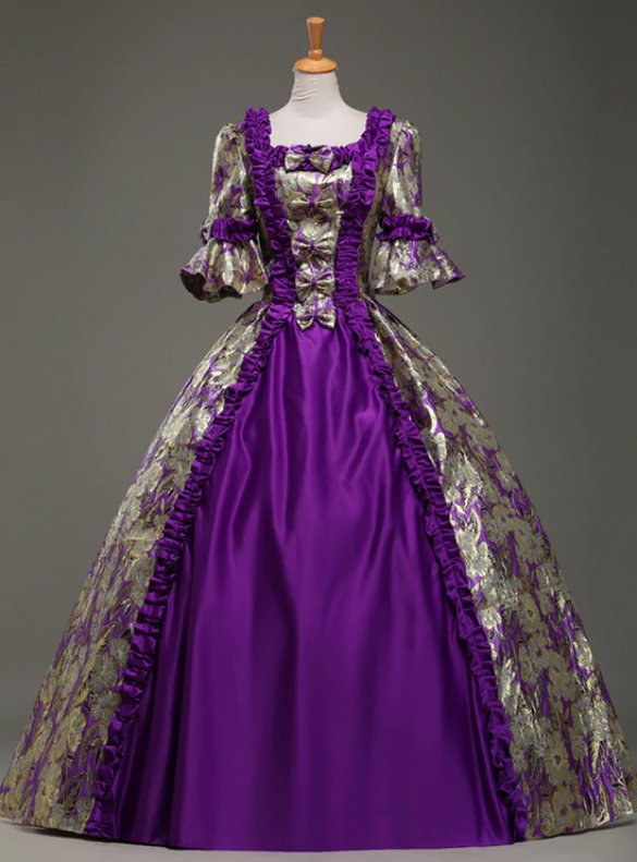 Purple Satin Shrrt Sleeve Bow Rococo Baroque Dress