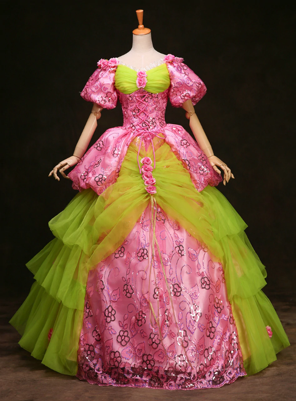 Pink Green Tulle Puff Sleeve Victorian Vintsge Dress