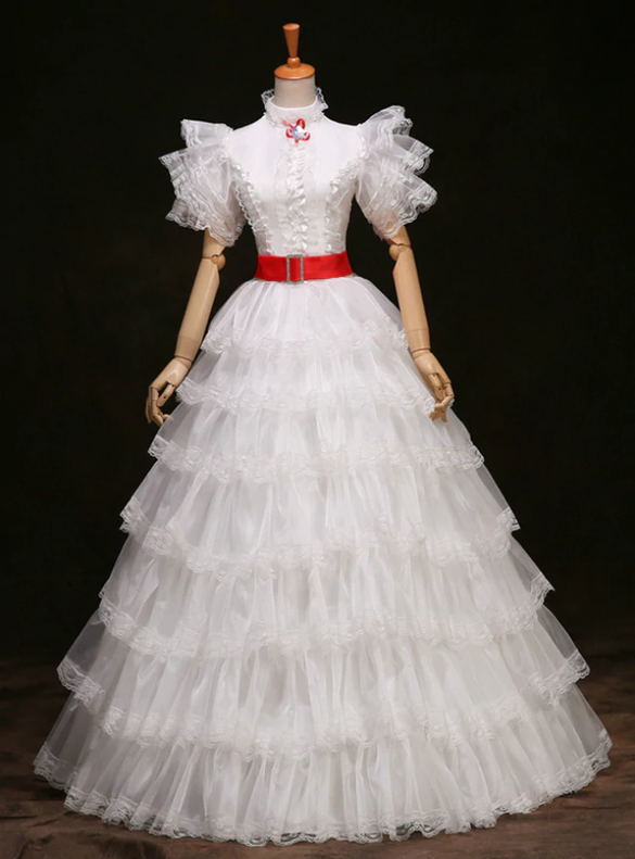White Tulle Tiers Rococo Baroque Vintage Dress