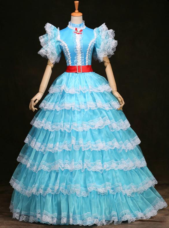 Blue Tulle Tiers Rococo Baroque Vintage Dress