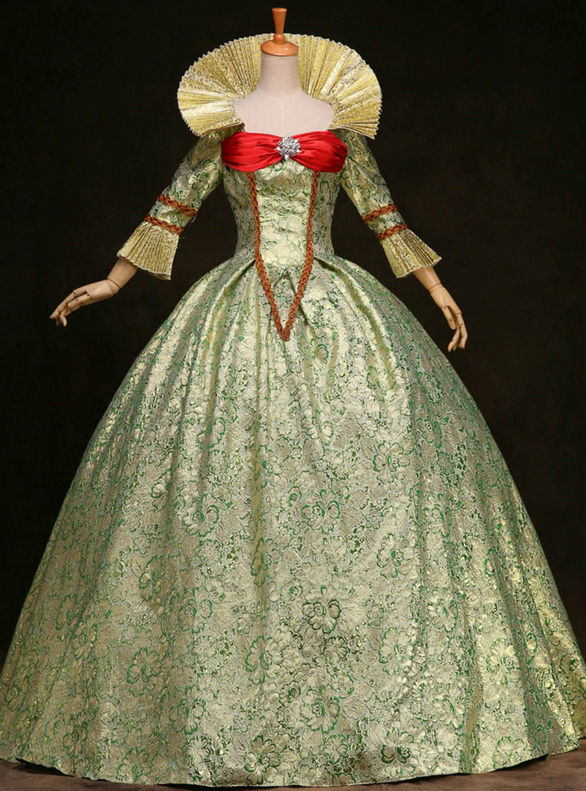 Green Ball Gown Pleats Long Sleeve Rococo Baroque Dress
