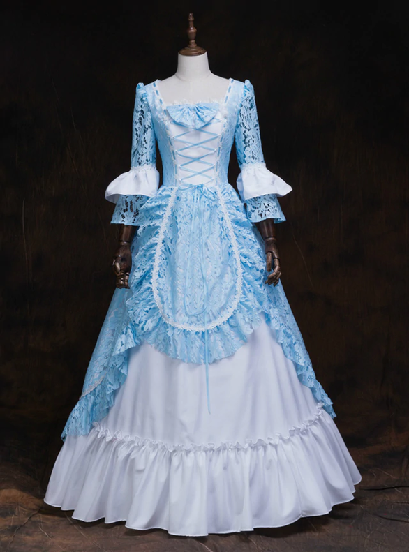 Light Blue Lace Square Long Sleeve Baroque Victorian Dress