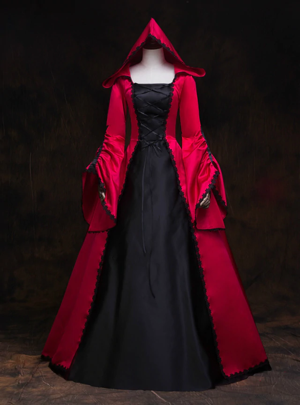 Red Lolita Court Long Sleeve Satin Rococo Baroque Dress