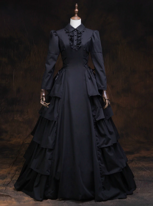 Black Long Sleeve Baroque Victorian Dress