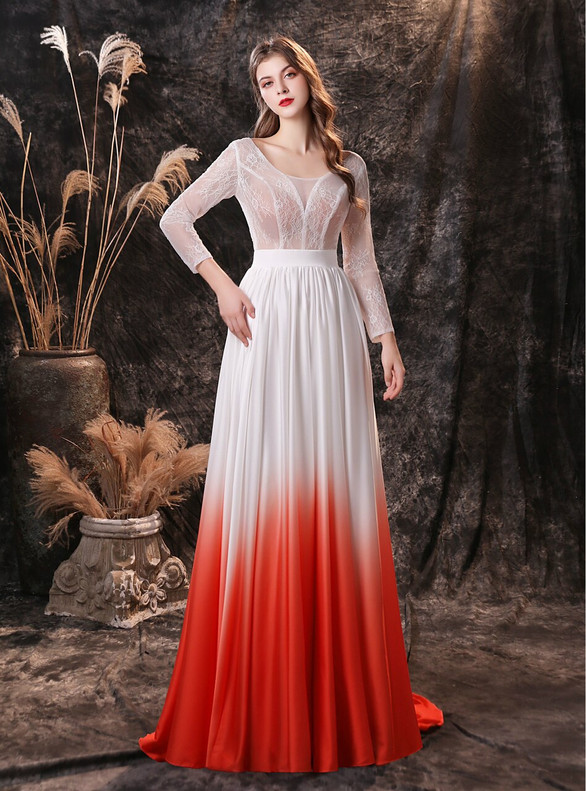 A-Line White Long Sleeve Backless Prom Dress