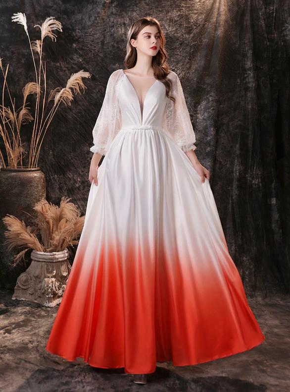 White Lace Long Sleeve Illusion Neck Prom Dress