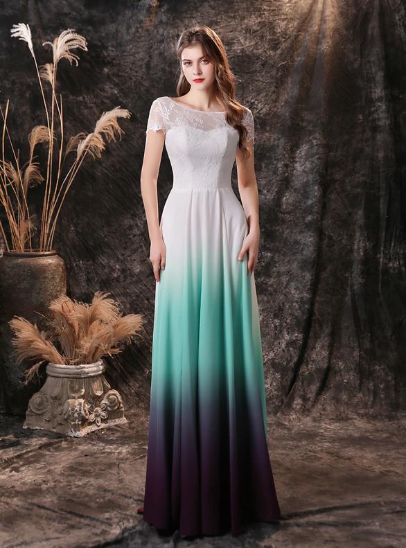 White Gradient Chiffon Lace Cap Sleeve Prom Dress