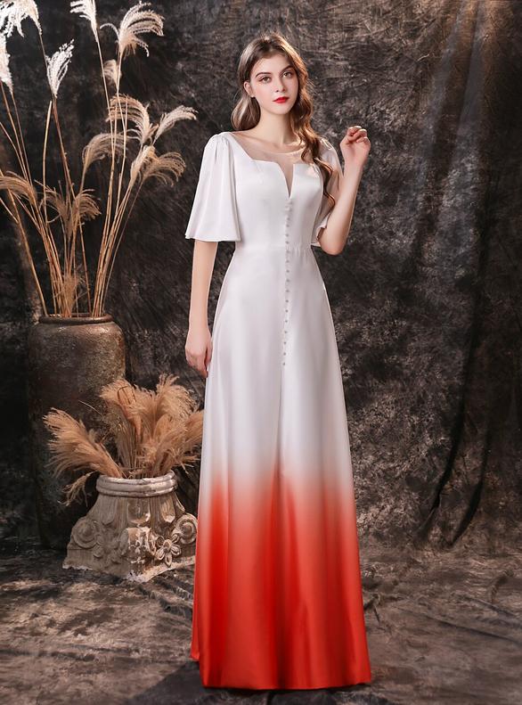 White Satin Short Sleeve Bateau Neck Prom Dress