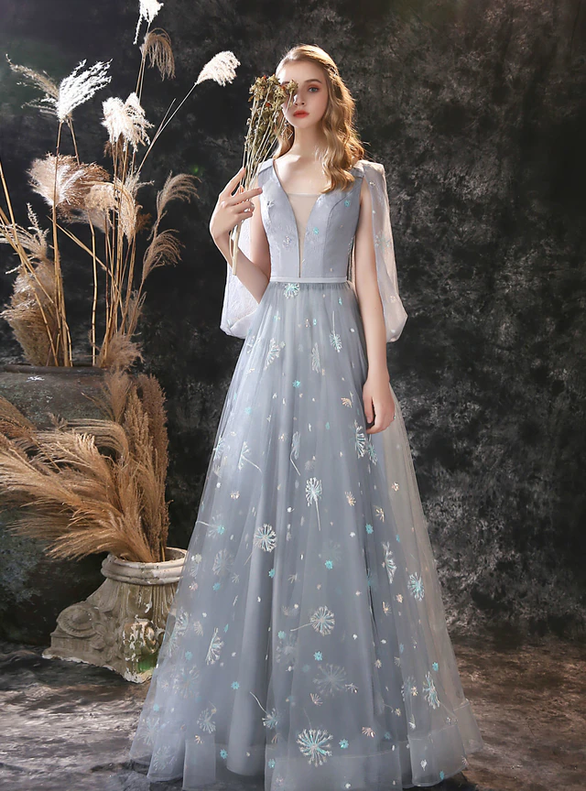 A-Line Gray Tulle Dandelion Beading Prom Dress