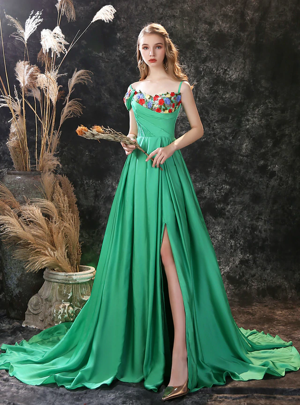 Green Satin Embroidery Spaghetti Straps Prom Dress With Split