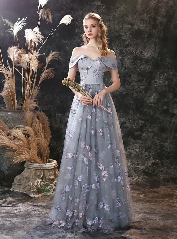 Dragonfly Embroidery Tulle Off the Shoulder Prom Dress