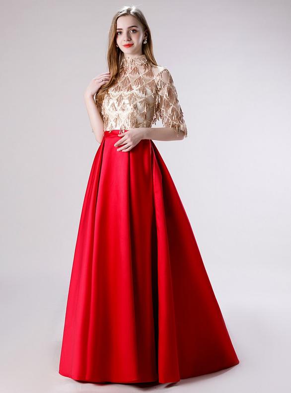 Red Satin High Neck Short Sleeve Tassel Sequins Prom Dress