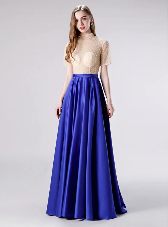 Royal Blue Satin Highn Neck Short Sleeve Beading Prom Dress