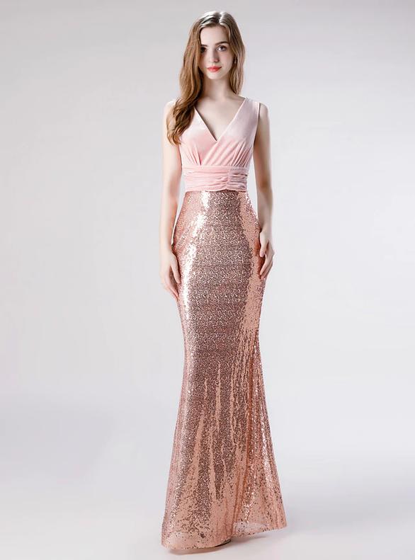 Pink Mermaid Sequins Velvet V-neck Prom Dress