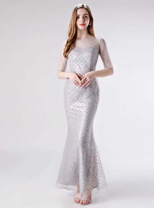 Silver Mermaid Short Sleeve Sequins Prom Dress