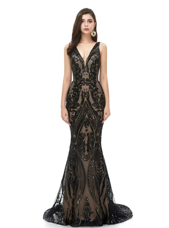 Mermaid Sequins Deep V-neck Prom Dress