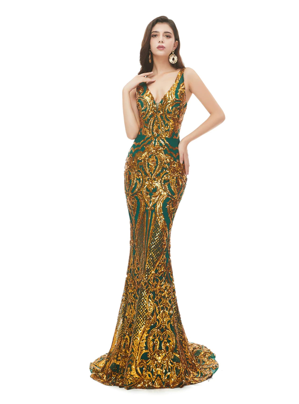 Fashion Mermaid Sequins V-neck Prom Dress