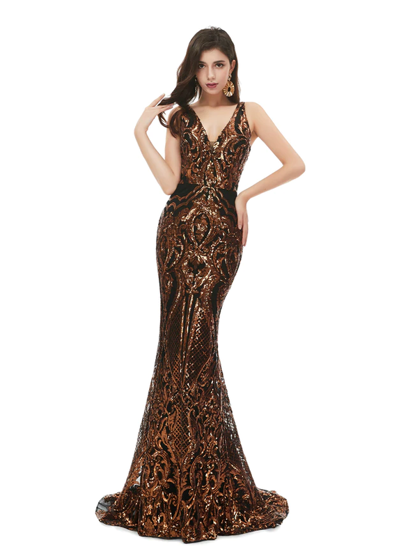 Dark Gold Mermaid Sequins V-neck Prom Dress