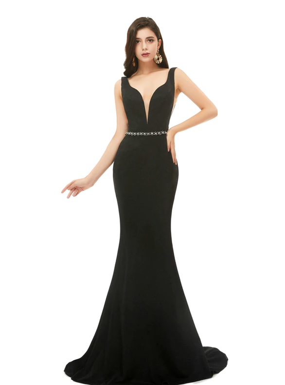 Mermaid V-neck Backless Beading Black Prom Dress