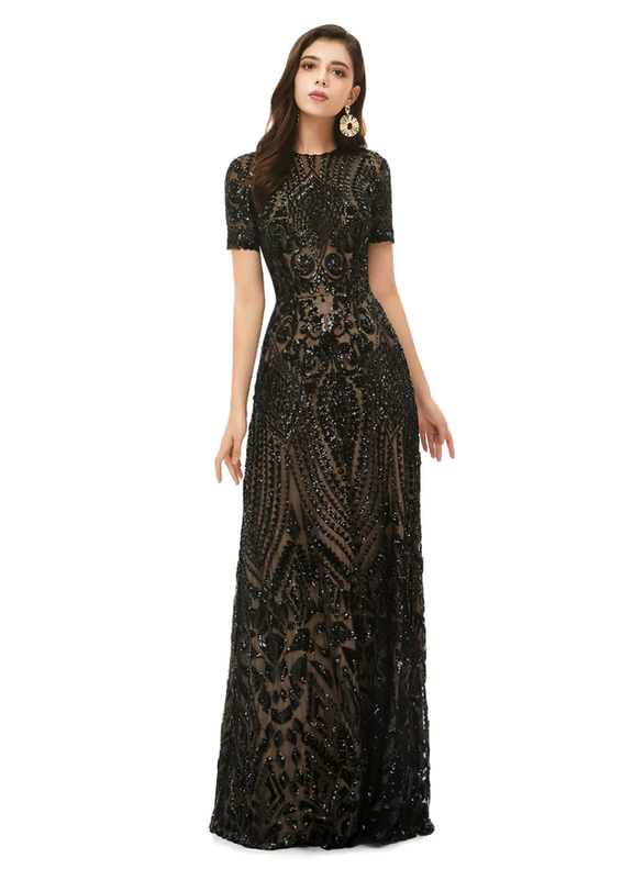 A-Line Black Sequins Short Sleeve Prom Dress