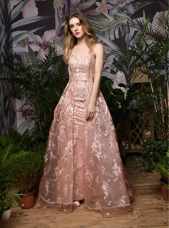 Pink Tulle Spaghetti Straps Backless Appliques Prom Dress
