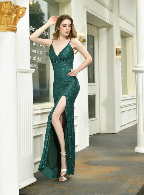 Green Mermaid Sequins Deep V-neck Prom Dress With Split