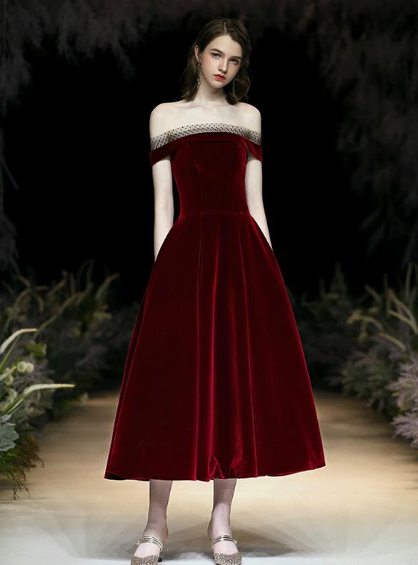 Burgundy Velvet Off the Shoulder Tea Length Prom Dress