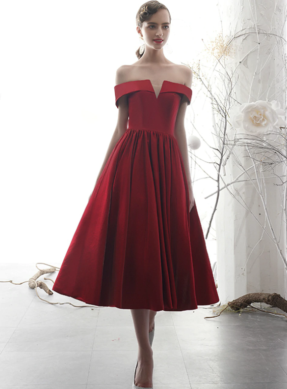 Tea Length Burgundy Satin Off the Shoulder Prom Dress