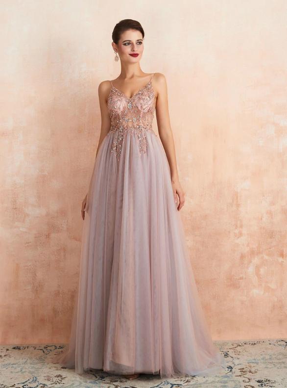Pink Tulle Spaghetti Straps Beading Prom Dress
