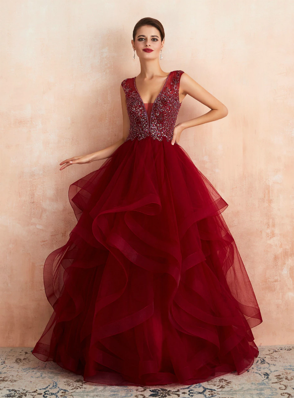 Burgundy Tulle V-neck Illusion Back Beading Prom Dress