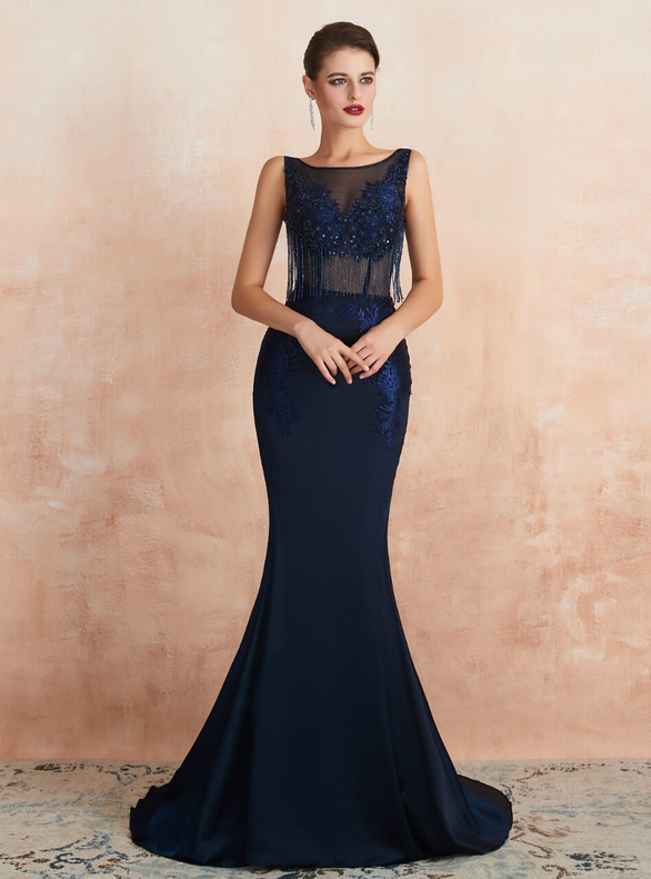 Mermaid Satin Backless Beading Navy Blue Prom Dress