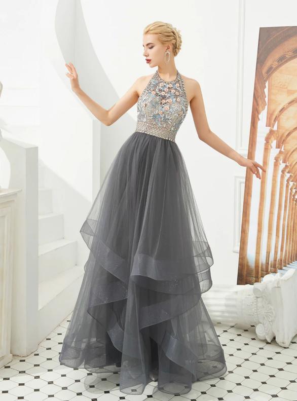 Gray Tulle Halter Beading Backless Prom Dress