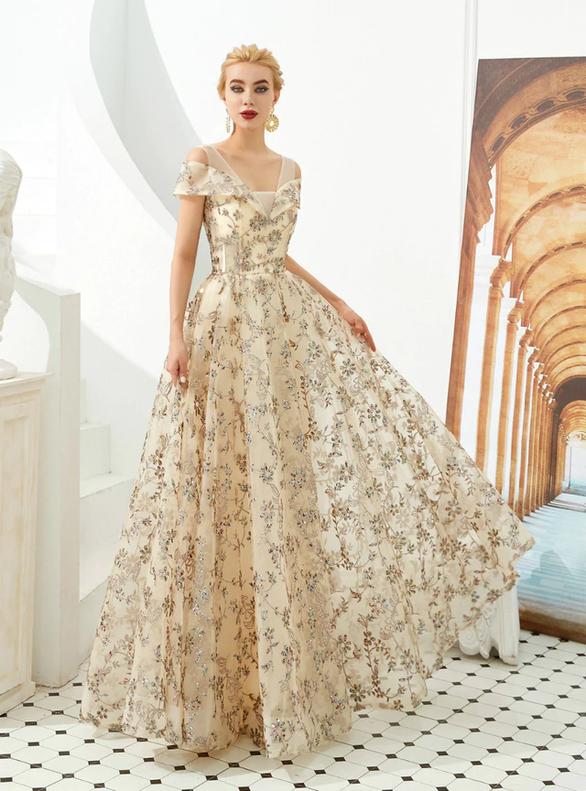 Champagne Sequins V-neck Formal Prom Dress