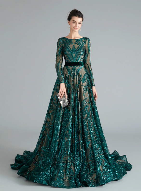 Dark Green Sequins Long Sleeve Backless Prom Dress
