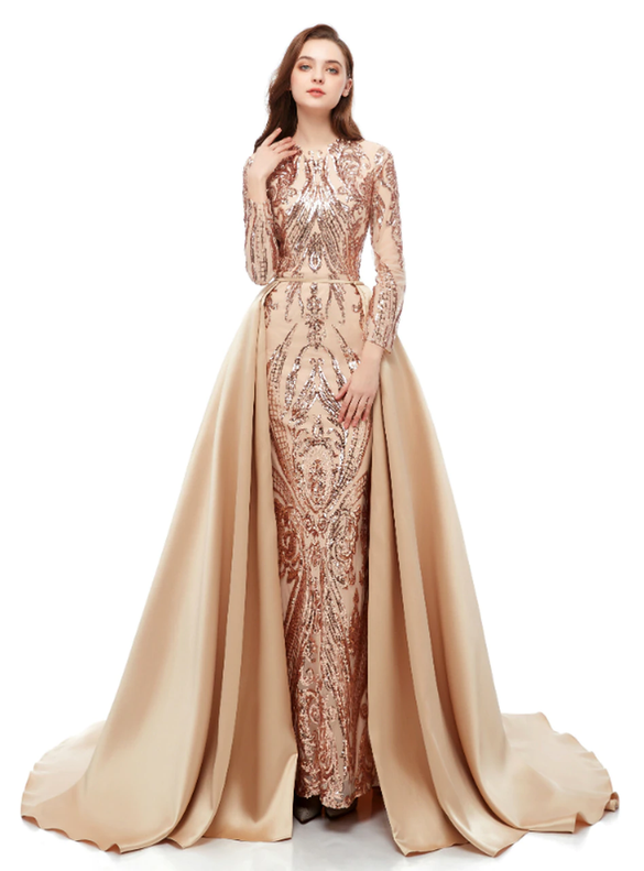 Champagne Mermaid Sequins Two Piece Long Sleeve Prom Dress